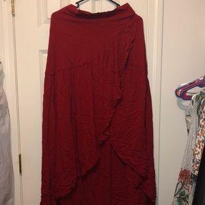 NWOT red wrap tie around skirt in size medium
